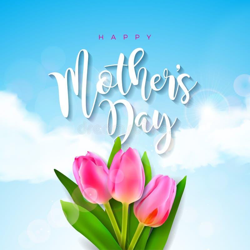 Buona Festa della Mamma cartolina d'auguri con il fiore del tulipano sul fondo della nuvola Modello dell'illustrazione di celebra illustrazione vettoriale