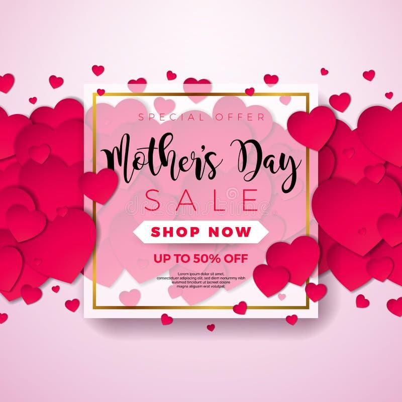 Buona Festa della Mamma cartolina d'auguri con il focolare su fondo rosa Modello dell'illustrazione di celebrazione di vettore co illustrazione vettoriale