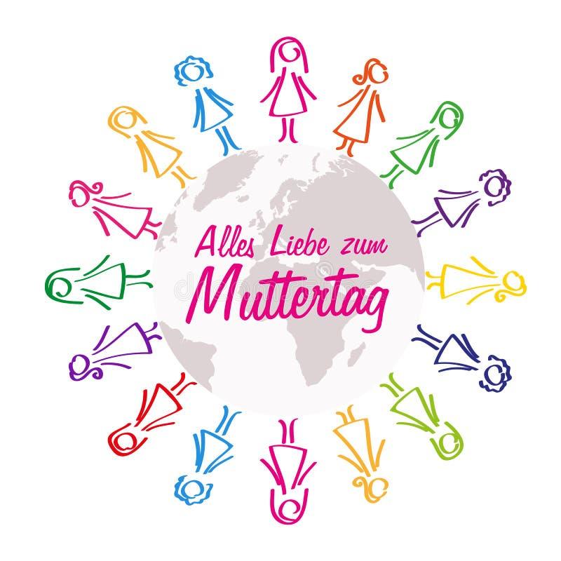 Buona Festa della Mamma donne d'iscrizione tedesche intorno alla progettazione variopinta del mondo illustrazione vettoriale