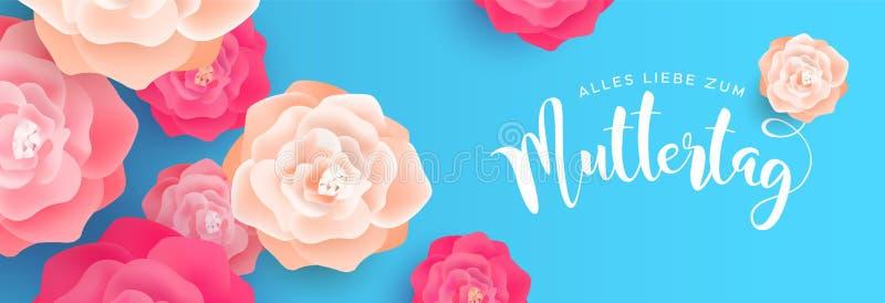Buona Festa della Mamma insegna del fiore nella lingua tedesca illustrazione vettoriale