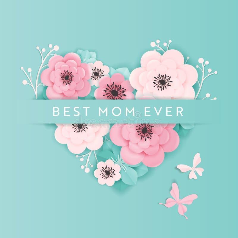 Buona Festa della Mamma insegna di festa Progettazione del taglio della carta della primavera della cartolina d'auguri di giorno  royalty illustrazione gratis