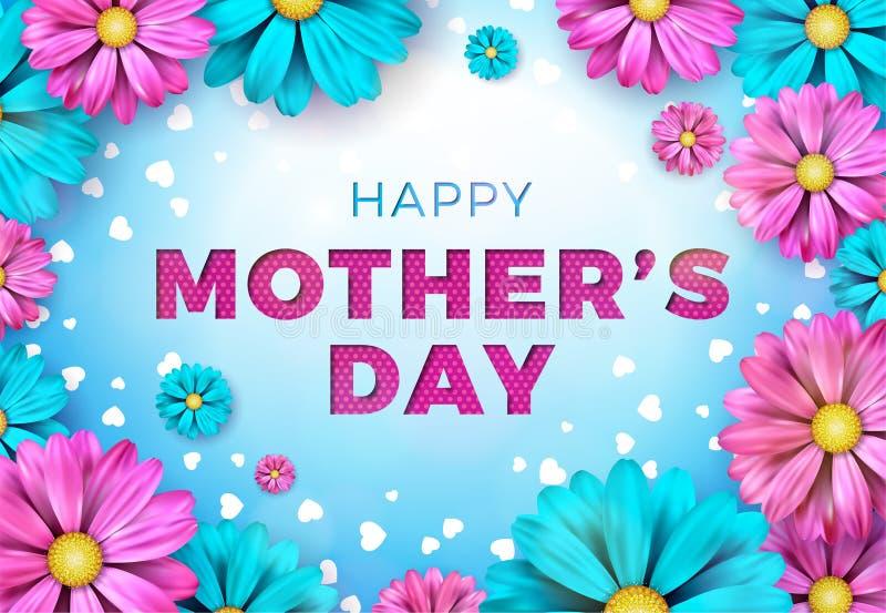 Buona Festa della Mamma progettazione della cartolina d'auguri con il fiore ed elementi tipografici su fondo blu Celebrazione di  royalty illustrazione gratis
