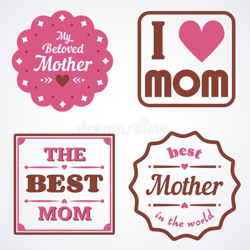 Buona Festa della Mamma segnando gli emblemi calligrafici ed i distintivi con lettere messi Elementi di progettazione di vettore  fotografia stock libera da diritti
