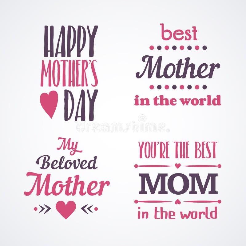 Buona Festa della Mamma segnando gli emblemi calligrafici ed i distintivi con lettere messi Elementi di progettazione di vettore  fotografie stock libere da diritti