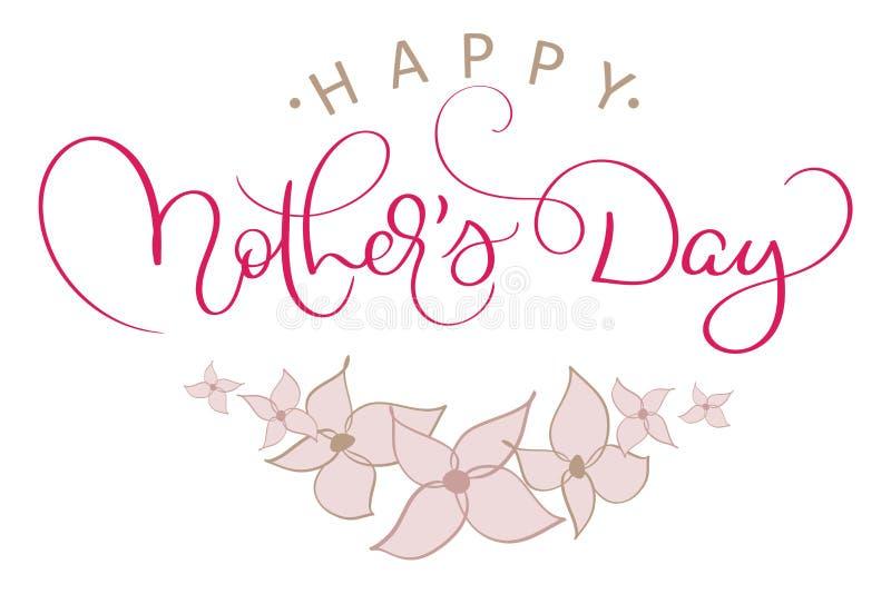 Buona Festa della Mamma vector il testo rosso d'annata con i fiori rosa Illustrazione EPS10 dell'iscrizione di calligrafia illustrazione di stock