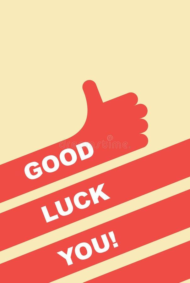 Buona fortuna voi Cartolina d'auguri Il gesto di mano è buono illustrazione di stock