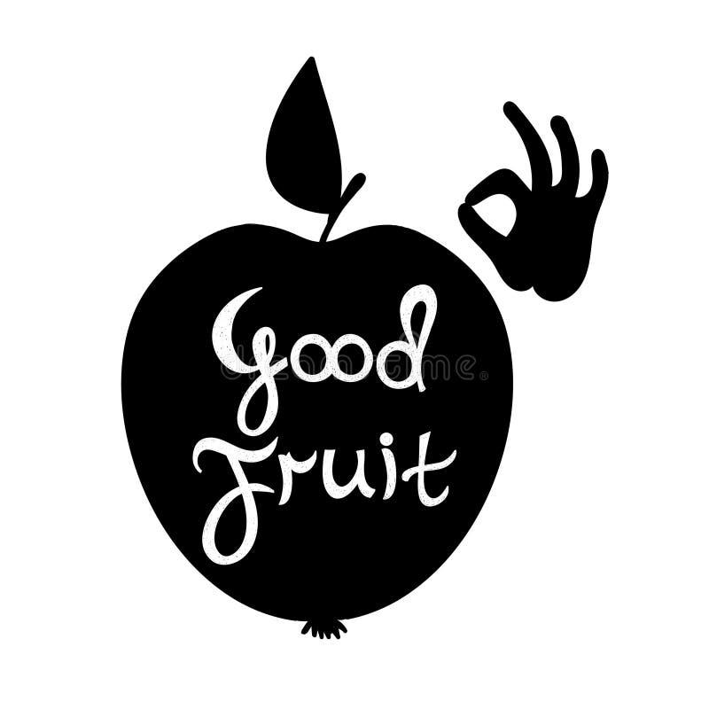 Buona frutta Siluetta di una mela con il testo royalty illustrazione gratis