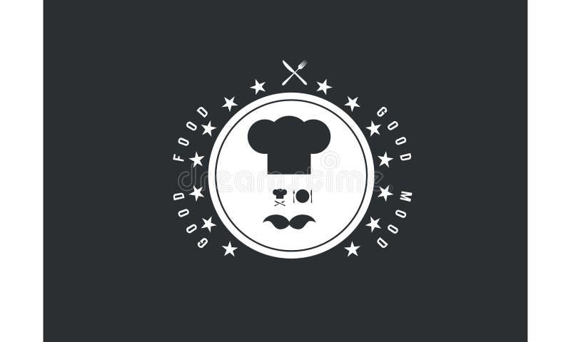 Buona icona di logo di umore del buon alimento illustrazione vettoriale