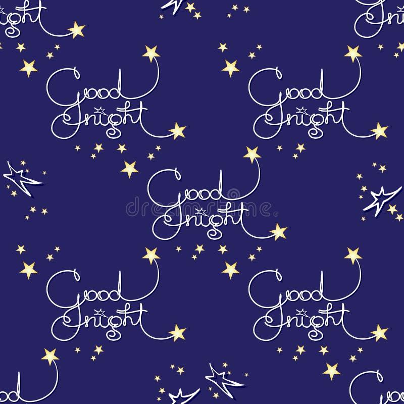 Buona notte Vector il modello senza cuciture delle parole scritte a mano e delle stelle illustrazione vettoriale