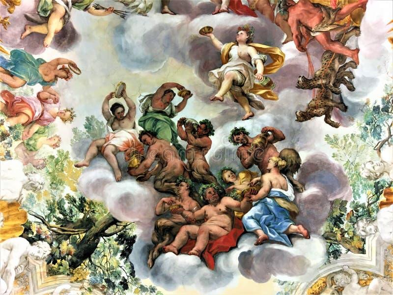 Buonaccorsi Palace in Macerata, Marche, Italy. Art and fresco royalty free stock photography