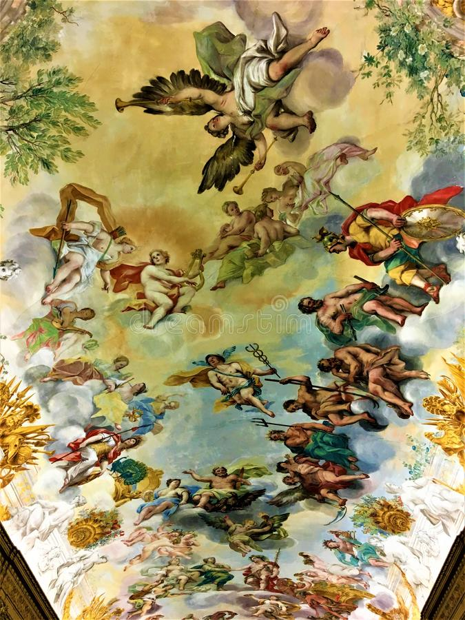 Buonaccorsi slott och freskomålning i Macerata, Marche, Italien royaltyfri foto
