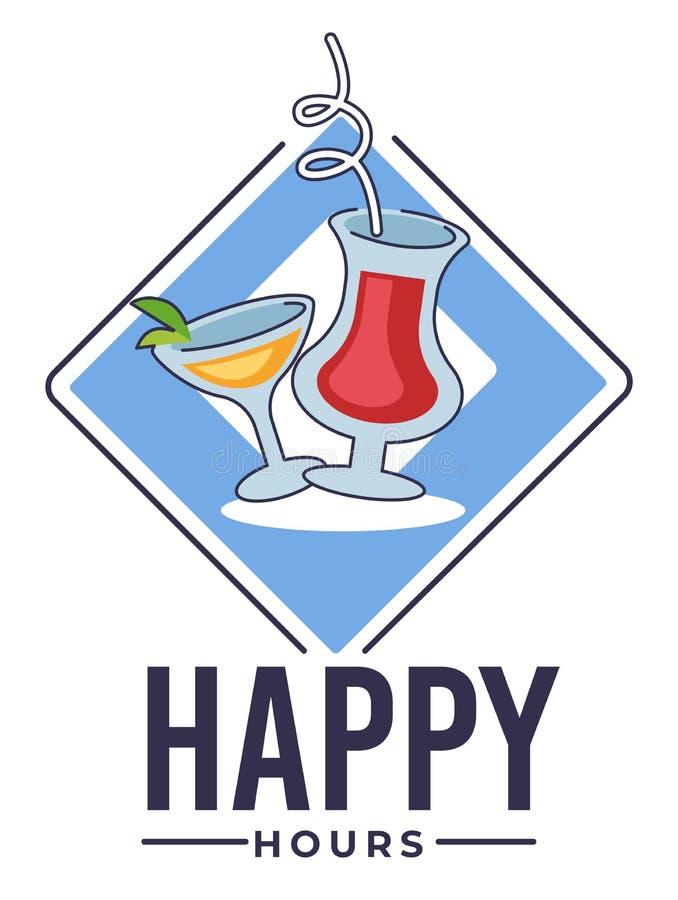 Buone ore al bar, striscioni con cocktail per ristoranti al bar royalty illustrazione gratis