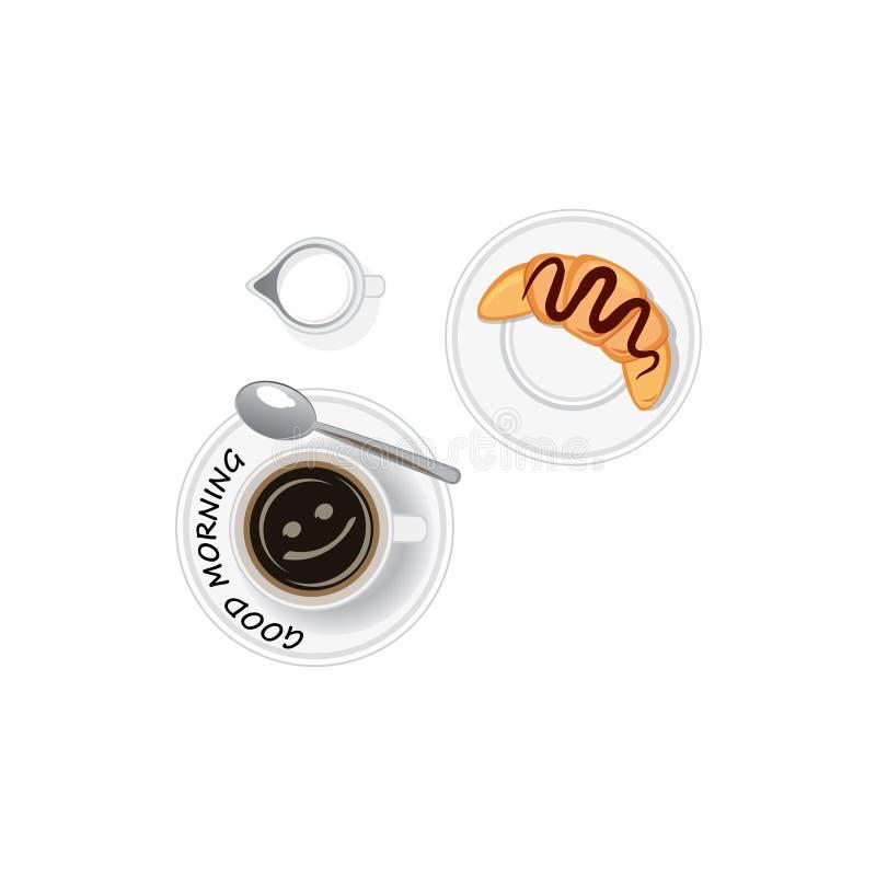 Buongiorno! Caffè con il croissant Vista superiore royalty illustrazione gratis
