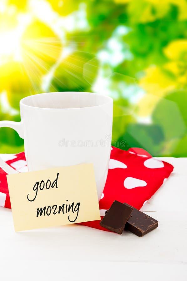 Molto Buongiorno Con Il Sorriso Ed Il Caffè Della Tazza Fotografia Stock  JF14