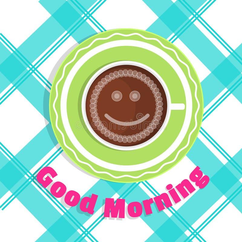 Buongiorno della carta di vettore Una tazza di caffè sulla vista da tavolo royalty illustrazione gratis