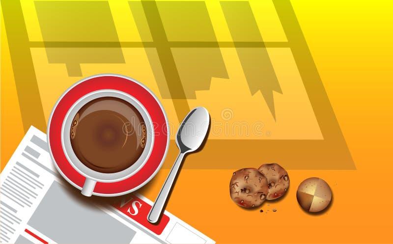 Buongiorno lunedì con la vista superiore di una tazza di caffè su fondo arancio royalty illustrazione gratis