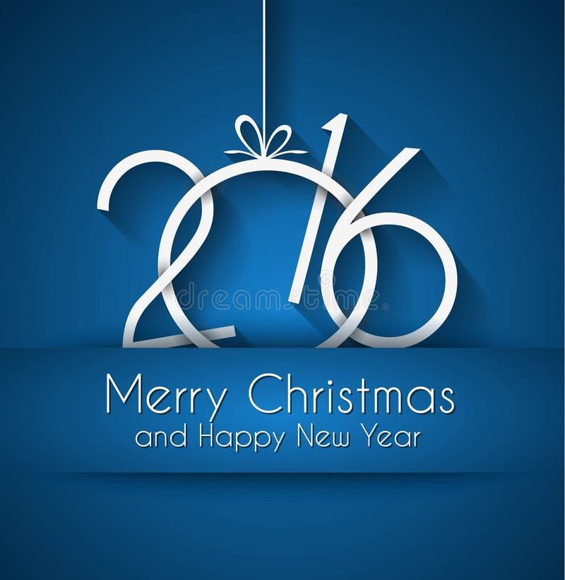 2016 buoni anni e fondo di Buon Natale illustrazione di stock