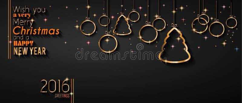 2016 buoni anni e fondo di Buon Natale illustrazione vettoriale