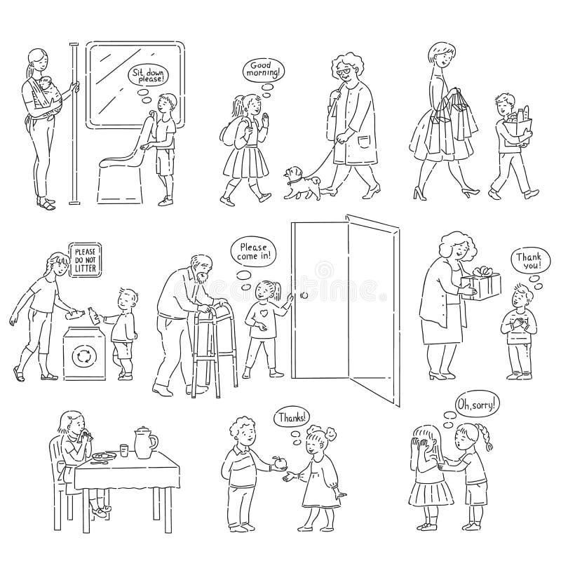Buoni comportamento di vettore e modi dell'insieme dei bambini illustrazione di stock