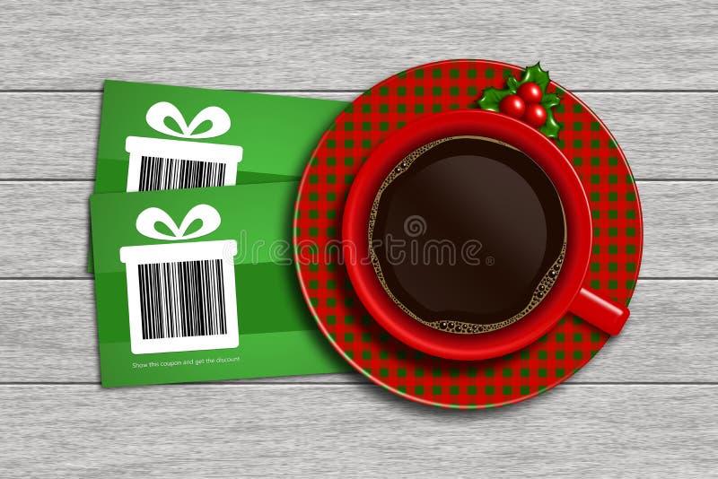 Buoni di sconto di Natale con il codice a barre ed il caffè sul DES di legno illustrazione di stock