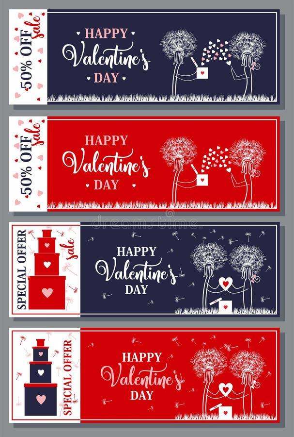 Buoni di sconto per il San Valentino Vettore fotografia stock