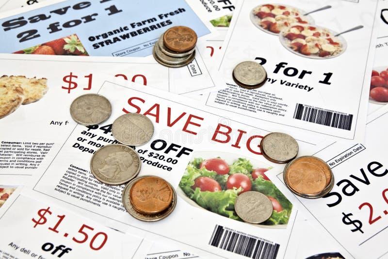 Buoni falsi con le monete degli Stati Uniti immagini stock libere da diritti