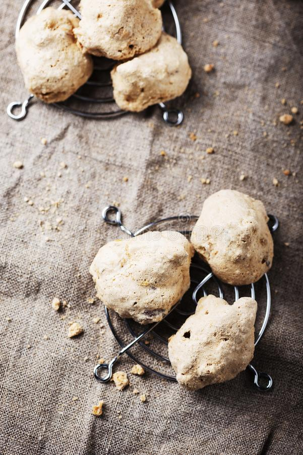 Buoni ma brutti. Traditional Piedmont cookies «Buoni ma brutti» with nuts, selective focus royalty free stock photos