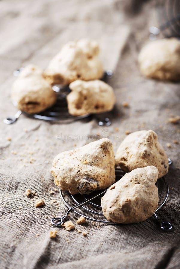 Buoni ma brutti. Traditional Piedmont cookies «Buoni ma brutti» with nuts, selective focus stock image
