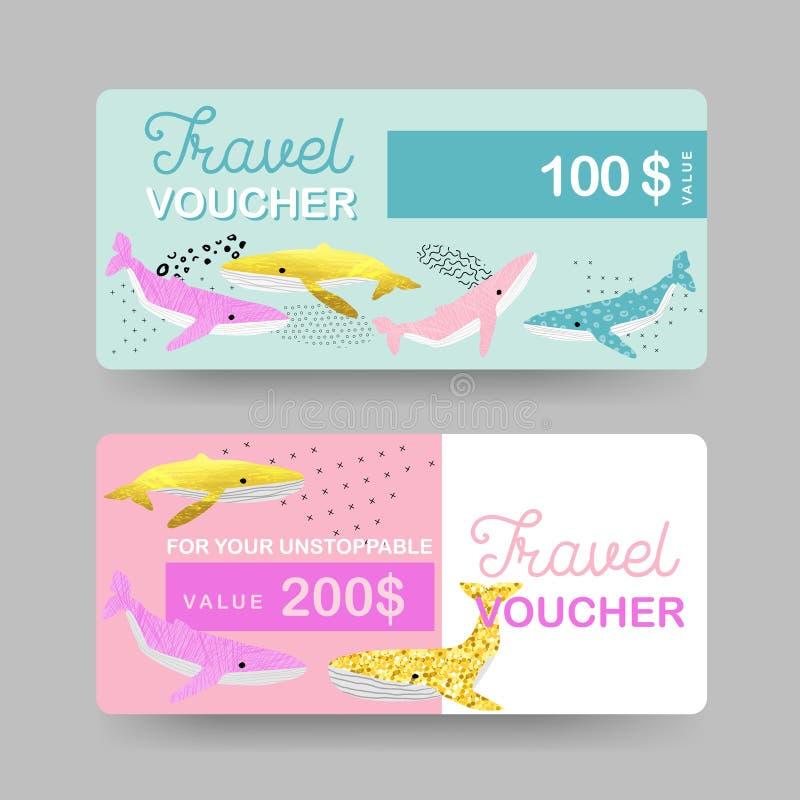 Buoni viaggio del regalo di estate La spiaggia Vacations buono, certificato, modelli dell'insegna con le balene sveglie Sconto di illustrazione vettoriale