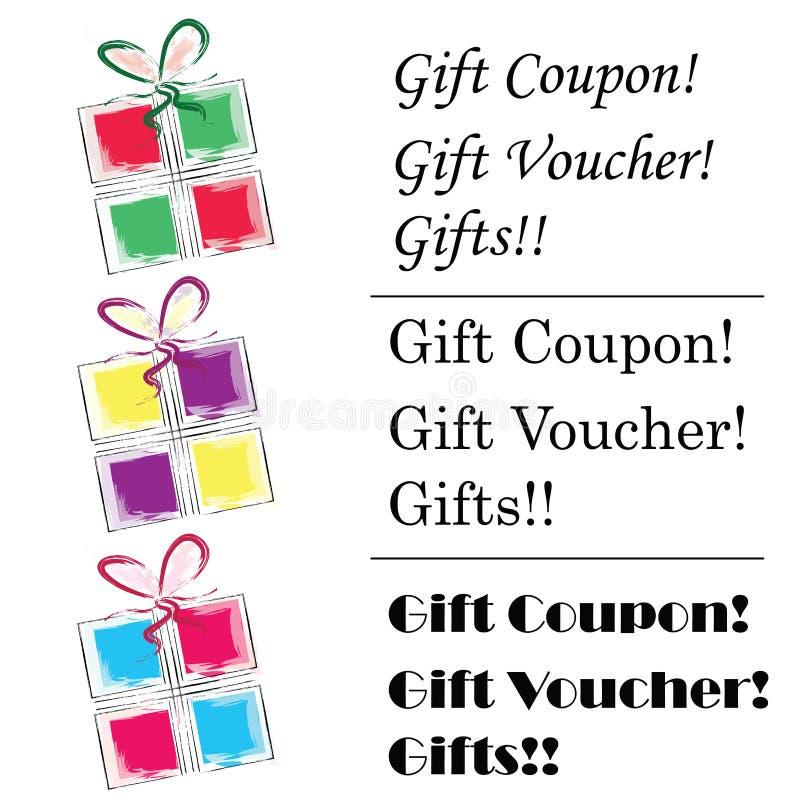 Buono del regalo - logo del buono di regalo - simbolo dei contenitori di regalo nei colori e nel vettore multipli dei testi royalty illustrazione gratis