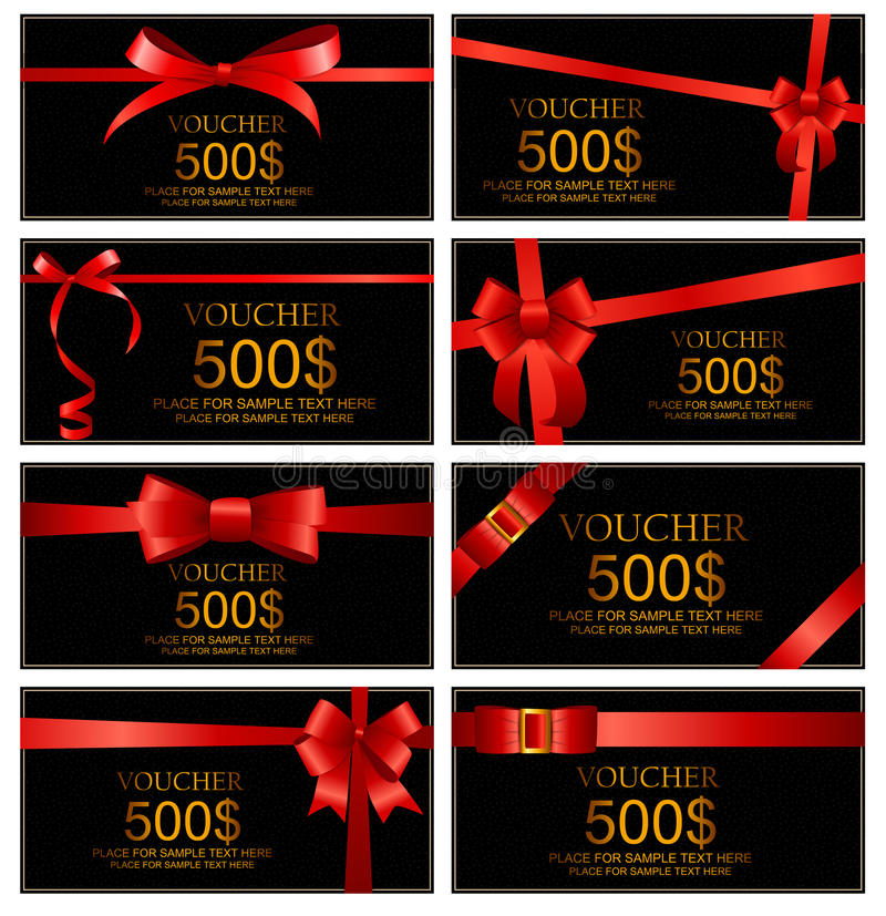 Buono di regalo con il modello stabilito rosso del nastro e dell'arco per il vostro Busin illustrazione di stock