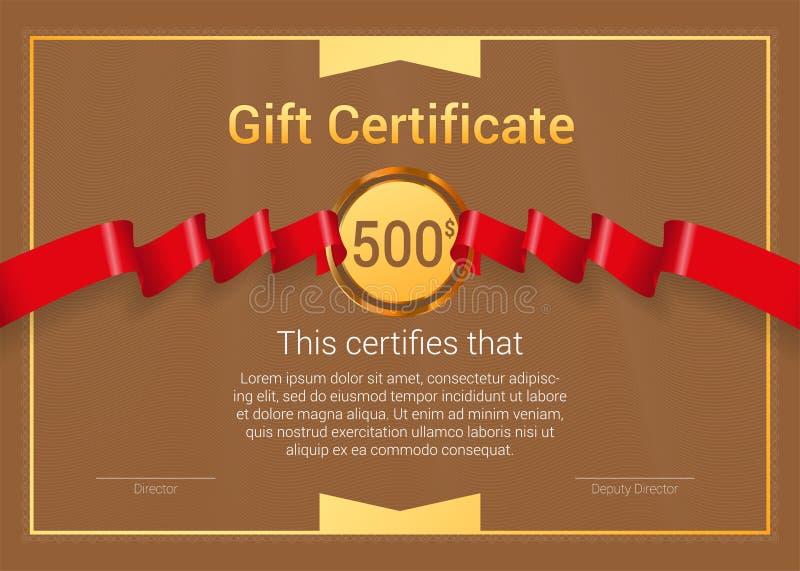 Buono regalo con il nastro rosso del premio Modello di vettore illustrazione di stock