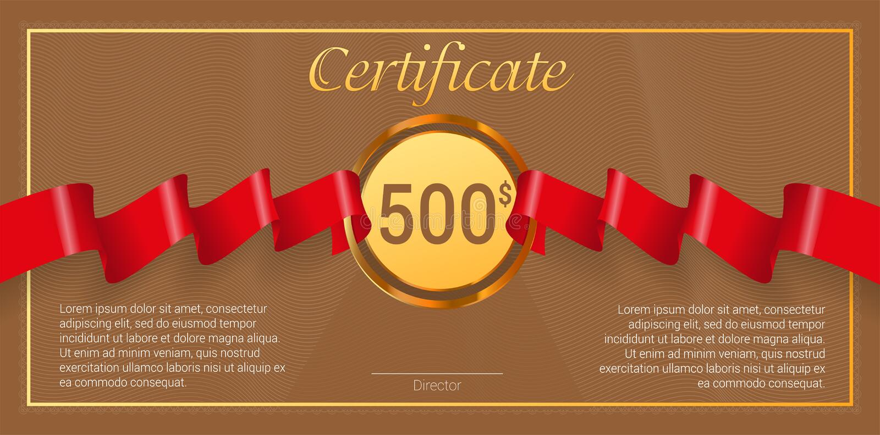 Buono regalo con il nastro rosso del premio Modello di vettore illustrazione vettoriale
