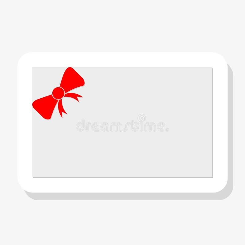 Buono, buono regalo, modello del buono Arco rosso, nastro su fondo bianco illustrazione vettoriale