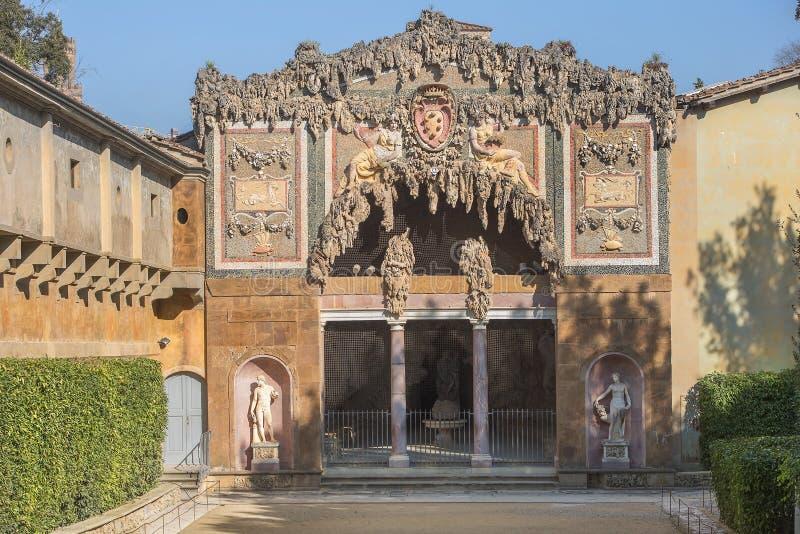 Buontalenti洞穴在Boboli庭院里,佛罗伦萨,意大利 库存图片