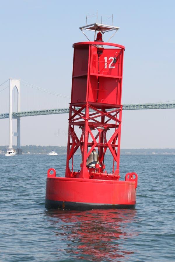 Buoy under Newport Bridge stock photos