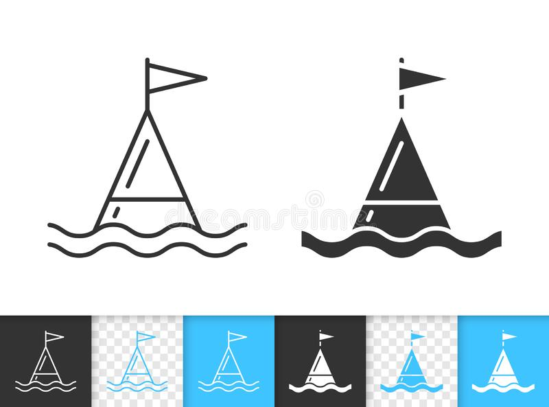Buoy warning marker simple black line vector icon. Buoy black linear and silhouette icons. Thin line sign of sea. Ocean outline pictogram isolated on white vector illustration