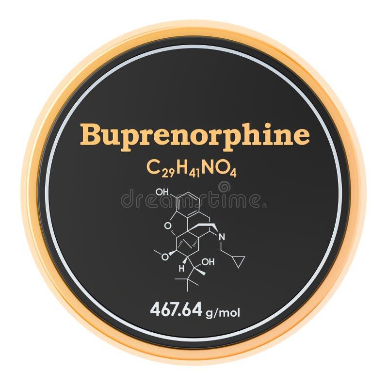 Buprenorphine Chemische formule, moleculaire structuur het 3D teruggeven op witte achtergrond ge?soleerd stock illustratie