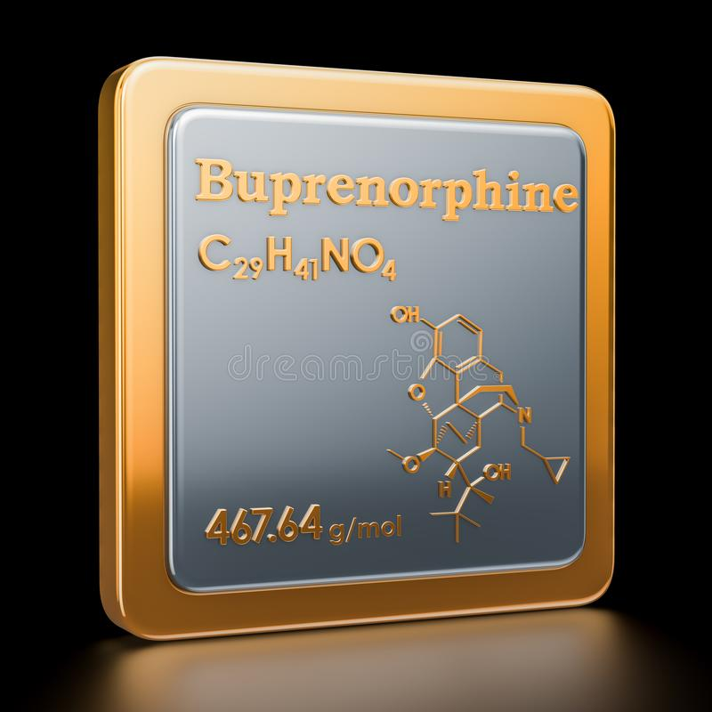 Buprenorphine. Icon, chemical formula, molecular structure. 3D r. Buprenorphine. Icon, chemical formula, 3D rendering stock illustration