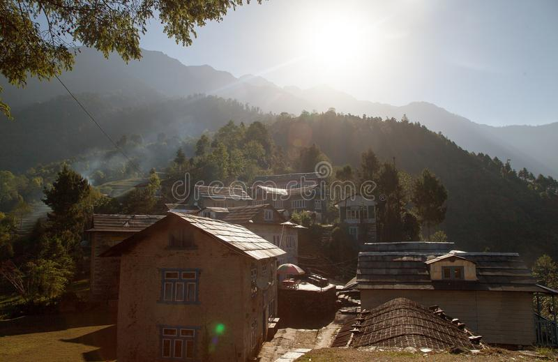 Bupsa village, trek to Everest base camp, Nepal royalty free stock photography