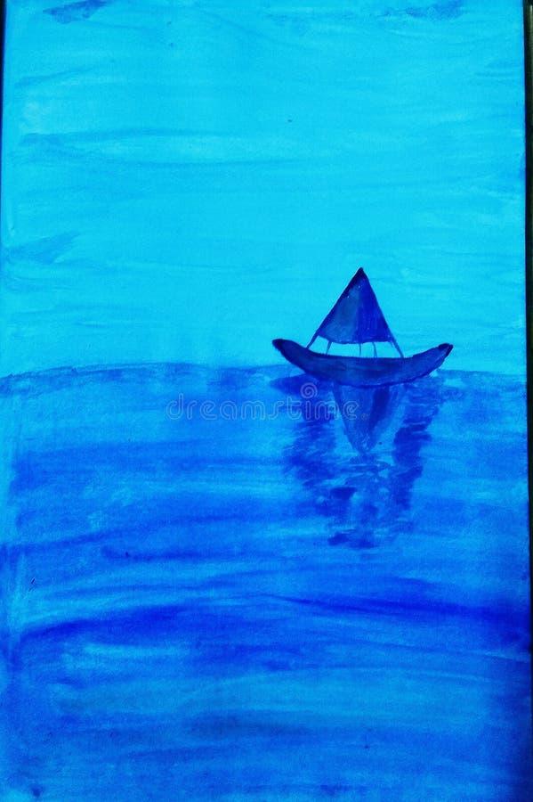 Buque azul en un mar azul profundo fotografía de archivo libre de regalías