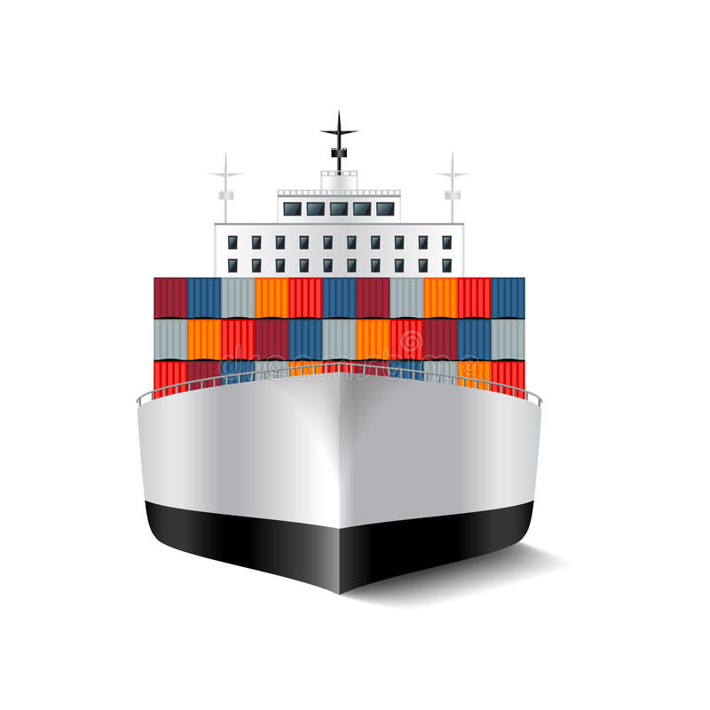 Buque de carga aislado en el vector blanco stock de ilustración