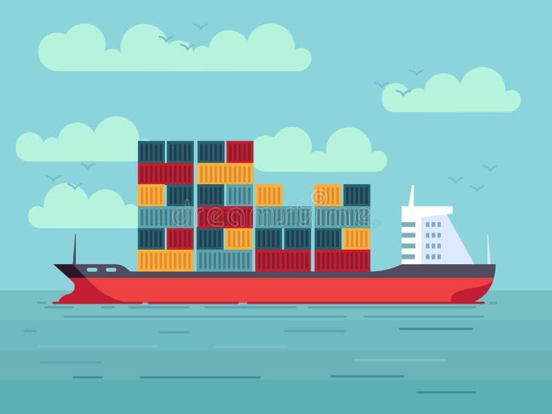 Buque de carga con los envases en el ejemplo del vector del océano o del mar libre illustration