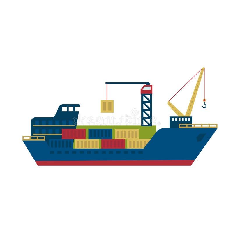 Buque de carga del petrolero con los envases Ilustración del vector stock de ilustración