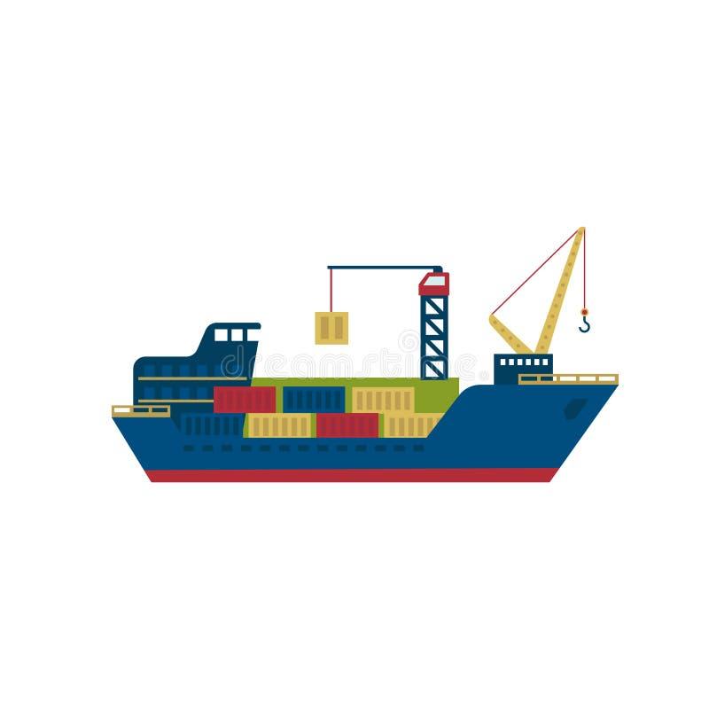 Buque de carga del petrolero con los envases Vector stock de ilustración