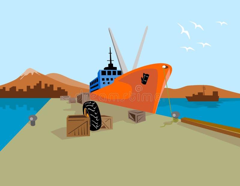 Buque de carga en el astillero ilustración del vector
