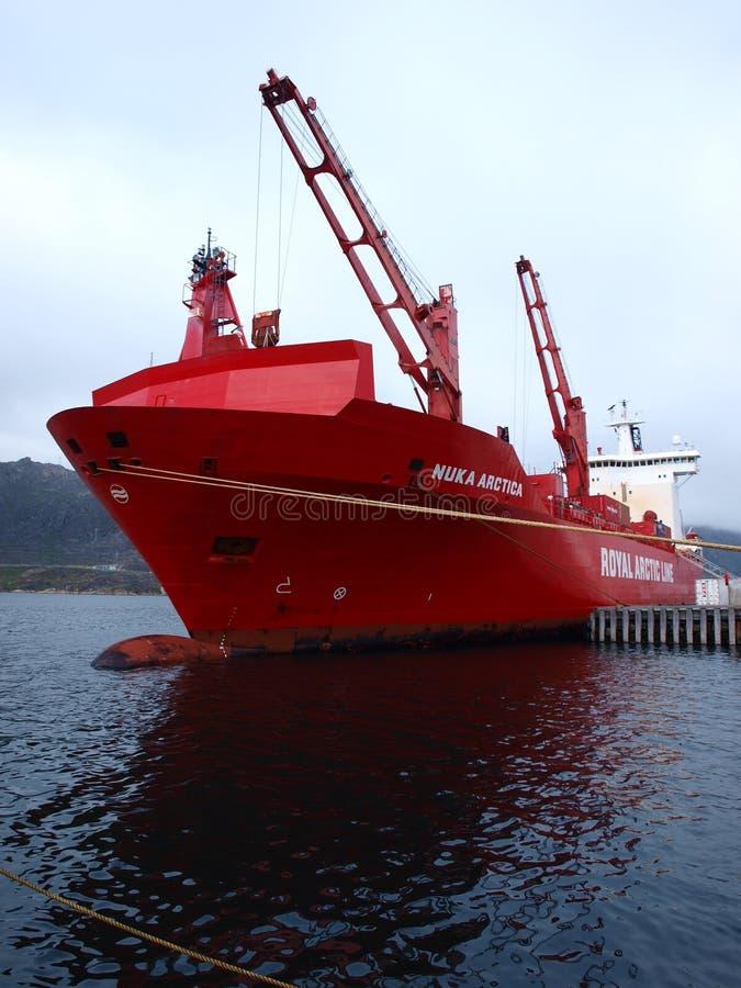 Buque de carga, Groenlandia. imagen de archivo