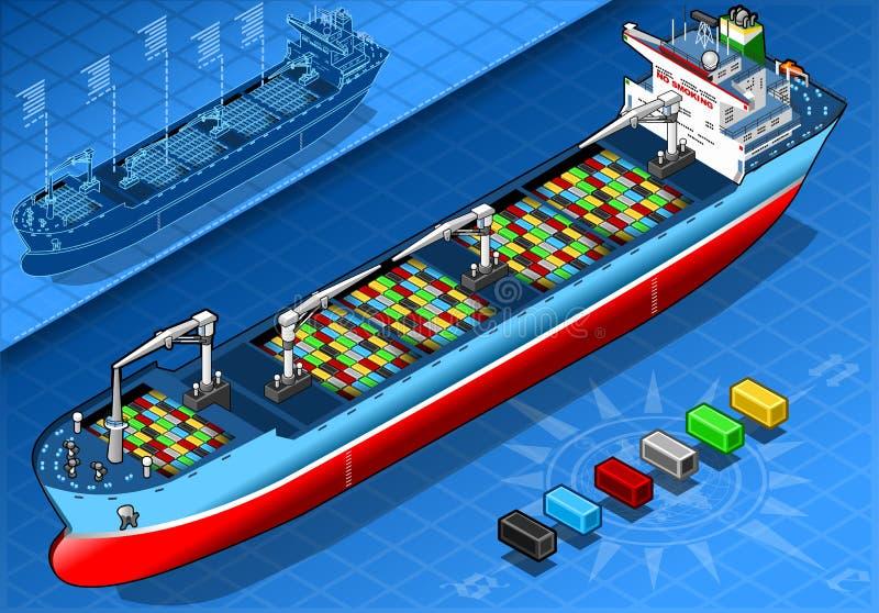 Buque de carga isométrico con los envases en Front View libre illustration