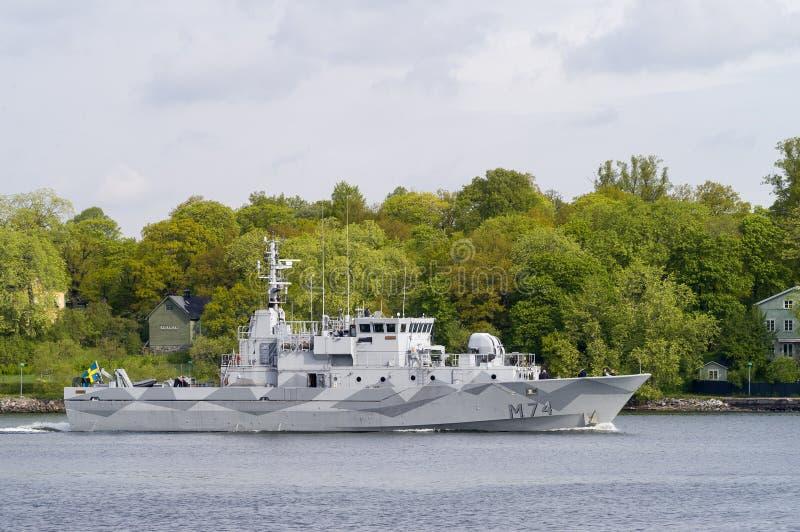 Buque de contramedidas de mina sueco del HMS Kullen imagen de archivo libre de regalías