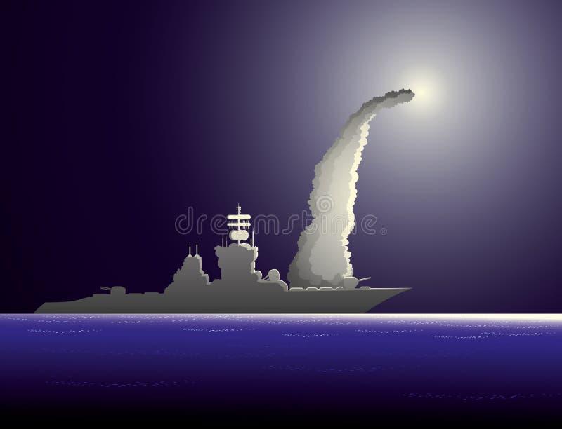 Buque de guerra en el mar ilustración del vector
